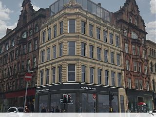 Glasgow's Trongate looking up with warehouse conversion