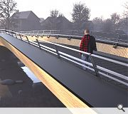 The bridge has been designed to be resilient to future flooding events while maintaining an accessible gradient
