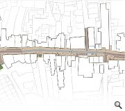 The road will be narrowed to a single 3m carriageway lined by generous paving of between 2.1m and 4.4m