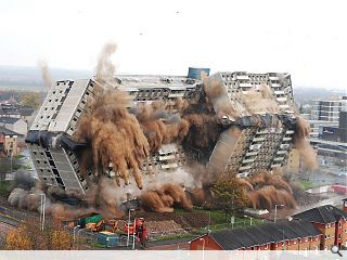 Motherwell tower block meets explosive demise