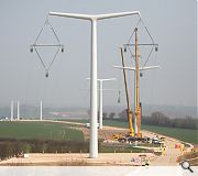 The new generation pylons are designed to be less intrusive on the landscape