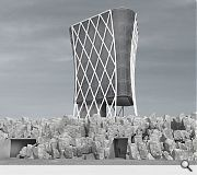 A steel diagrid structure is proposed for the control tower, allowing open plan floorplates