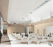 A spacious dining and assembly space offers unobstructed views out