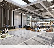 A double-height multi-use reception, café and concierge station will greet arrivals