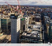 Drone photography captures the 13 storey block on the rise