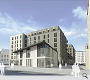 Concrete has been added to the materials palette to blend with the Fountainbridge masterplan