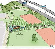 An Oak grove and nautically-themed playpark will attempt to humanise the motorway ramparts