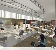 The main entrance space will incorporate a cafe and library