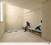 A serene meditation room provides space for quiet contemplation