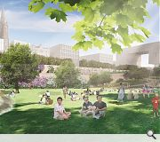 Design 06 also doubles the size of the gardens with layered green areas set in the existing topography that offer differing views, a community boulevard, cultural promenade and terraced flower garden.