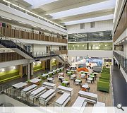Pupils are encouraged to socialise, study and gather within the impressive atrium
