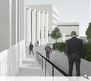 A tree-lined avenue will demark the new courts