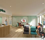 The front reception will incorporate warm, natural tones and lively colours to add a human touch