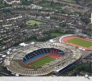 Hampden park has been extensively remodelled to accommodate track and field events