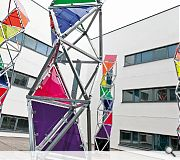 A quirky courtyard artwork injects a splash of colour