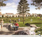 A landscaped park sits at the heart of the community