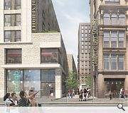 A pedestrian lane will funnel people through to the heart of the development