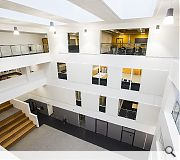 An atrium space doubles as a social hub for the entire school