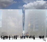 Proposal one introduces 20m high mirrored panels to reflect the drama of a square reduced in size to magnify the stature of surrounding buildings. In a play on the contentious plans to relocate a number of historic statues it is proposed that their p