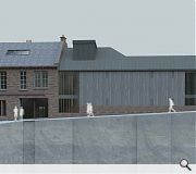 A former town hall to the rear will be levelled to make way for a new build extension