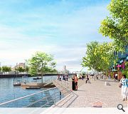 Linear landscaped promenades could extend along both banks of the river