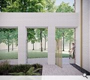 A brick colonnade demarks transition from a private residents courtyard to public nature trail