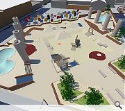 Key features of the design include swimming pool bowls, 'china town' banks, skateable seating and landscaping.