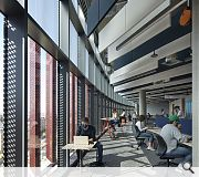 The hub replaces the old maths building and includes a café, roof terrace and a 500 seat auditorium