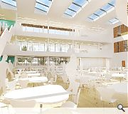 A shared social space will be split between a dining hall, performance space and amphitheatre
