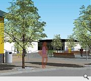 A landscaped public space will be created in front of the new library