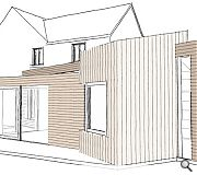 A combination of horizontal and vertical cladding faces the annexe
