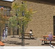 Courtyard spaces offer space for mixed play and learning