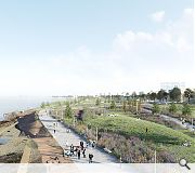 The terraced topography of the shoreline will be utilised to integrate new development and maintain views
