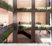 A dramatic atrium will draw tenants together in a central shared space