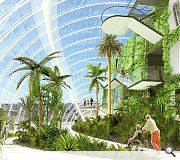 The new glasshouse takes the form of a 'stylised palm leaf'