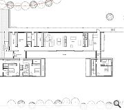 A linear floorplan segregates social and private functions