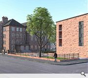 Red brick is harnessed to tie in with the sandstone of the retained school