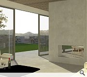 A feature fireplace harmonises the indoor and outdoor materials palette