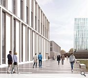 Extensive public realm will integrate the hub within its campus setting