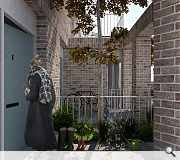 Access to each property is made via a private entrance courtyard enclosed by brick pillar supporting upper-level terraces, contributing to a processional route of increasing privacy from street to porch