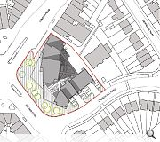 Buildings will rise significantly from the datum lines of London Road and Church Hill Road to create a local landmark