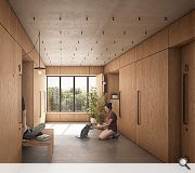 Adaptable partitions give residents the chance to recreate their daily 'commute' without leaving the building