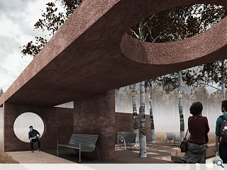 Geology-inspired hospital pavilion moves on-site