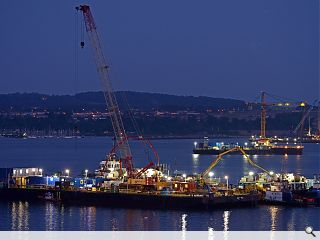 Forth Replacement Crossing south caisson takes shape