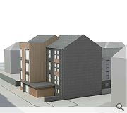 The flats will be faced with blue/black brick, white smooth render and Siberian larch cladding