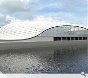 The ferry terminal design has been likened to a rib cage protected by a strong outer shell