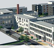 New builds are intended to sit comfortably alongside the art deco former college building