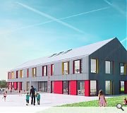 Craigour Park Primary - all the schools feature grey modular cladding, distinguished only by colour highlights