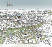 An aerial view of the 100 Acre Hill masterplan