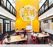Stencilled walls give the school a new identity
